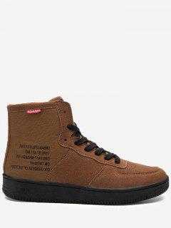 High Top Letter Print Casual Shoes - Brown 44