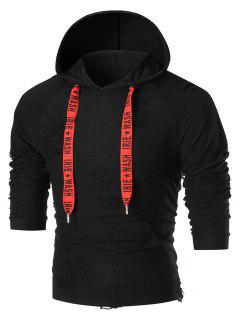 Graphic Printed Drawstring Destroyed Hoodie - Black Xl