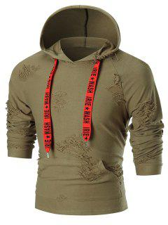 Graphic Printed Drawstring Destroyed Hoodie - Army Green L