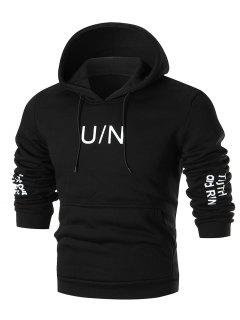 Graphic Print Casual Fleece Hoodie - Black 3xl