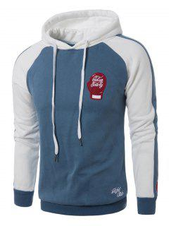 Hooded Gloves Embroidered Fleece Pullover Hoodie - Light Blue 2xl