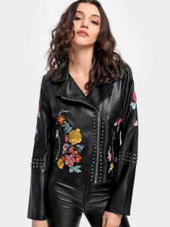 Studded Floral Embroidered Biker Jacket - Black M