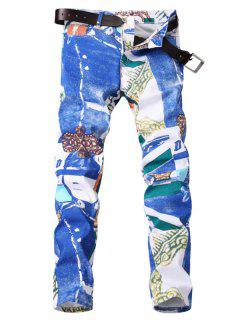 Zipper Fly Color Block Panel Tie Dye Print Jeans - 33