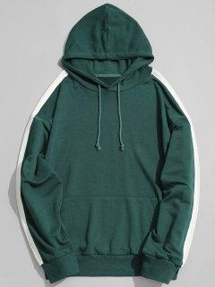Pocket Contrast Stripe Sleeve Hoodie - Green L