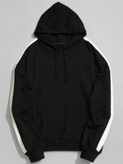 Pocket Contrast Stripe Sleeve Hoodie Men Clothes - Black 2xl