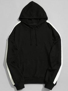 Pocket Contrast Stripe Sleeve Hoodie - Black L