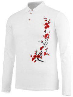 Half Button Floral Embroidery Polo Shirt - White Xl