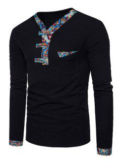V Neck Paisley Print Panel Pocket T-shirt - Black L