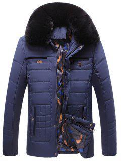 Detachable Faux Fur Collar Zip Up Quilted Coat - Blue 2xl