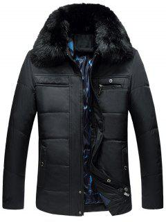 Detachable Faux Fur Collar Full Zip Quilted Coat - Black 2xl