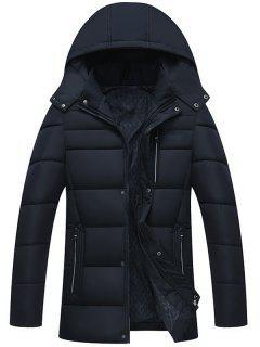 Full Zip Detachable Hood Padded Coat - Purplish Blue 4xl