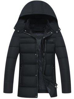 Full Zip Detachable Hood Padded Coat - Black 4xl