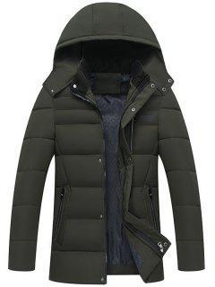 Full Zip Detachable Hood Padded Coat - Army Green Xl