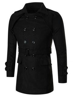Turn-down Neck Double Breasted Slim Peacoat - Black 2xl