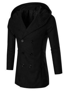Double Breasted Slim Hooded Peacoat - Black 2xl
