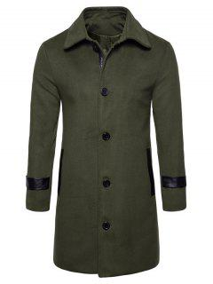 Turndown Collar PU Leather Edging Woolen Coat - Army Green L