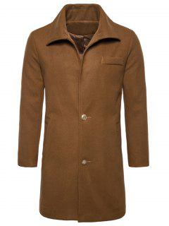 Turndown Collar Single Breasted Edging Woolen Coat - Camel 2xl
