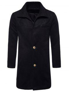 Turndown Collar Single Breasted Edging Woolen Coat - Black M