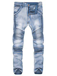 Zipper Fly Accordion Pleat Bleached Biker Jeans - Light Blue L
