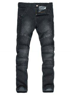 Zipper Fly Accordion Pleat Bleached Biker Jeans - Black L