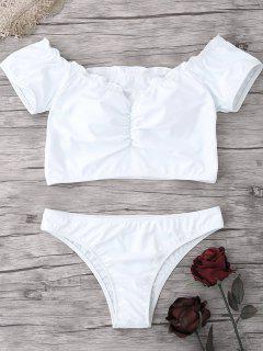 Geraffte Schulterfreie Bikinioberteile - Weiß S