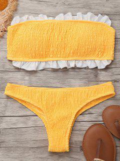 Smocked Rüschen Bandeau Bikini Top Und Unterteile - Gelb S