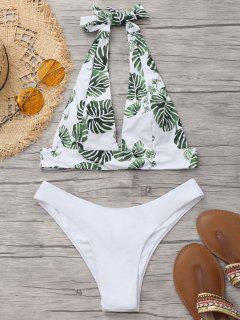 Palm Leaf Bikini Top With Thong Bottoms - White M
