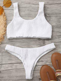 Smocked Bikini Top Und Thong Bottoms - Weiß S