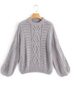 Lantern Sleeve Sheer Pullover Sweater - Gray