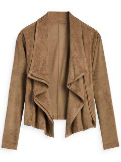 Zip Up Cropped Faux Suede Jacket - Light Coffee M