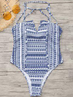 One Piece Tribe Print High Cut Swimwear - M