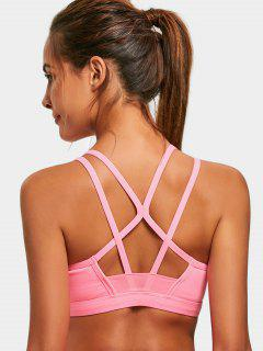 Padded Back Strappy Sporty Bra - Pink M