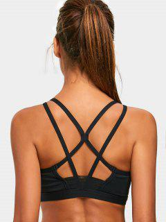 Padded Back Strappy Sporty Bra - Black M