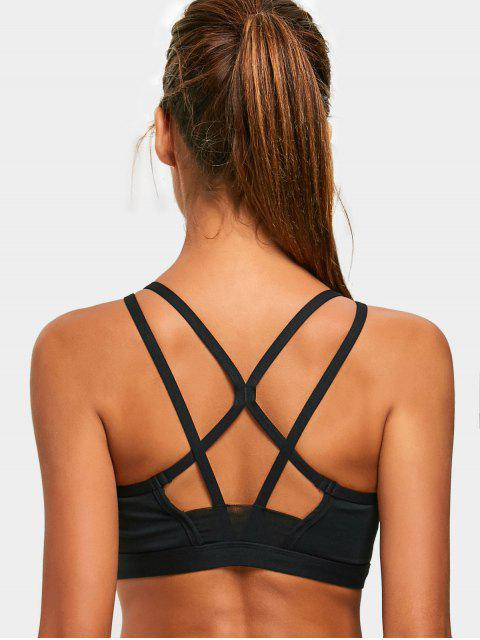 trendy Padded Back Strappy Sporty Bra - BLACK M Mobile