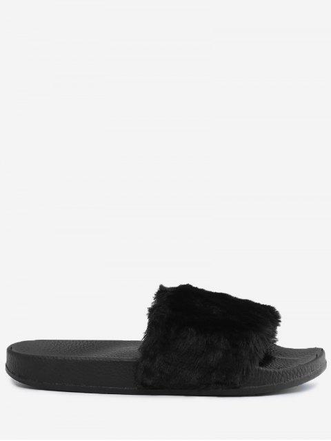 trendy Faux Fur Open Toe Slippers - BLACK 36 Mobile