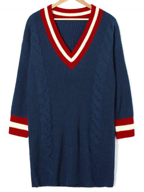 Cable Knit Mini Cricket Pullover Kleid - Kadettenblau L Mobile