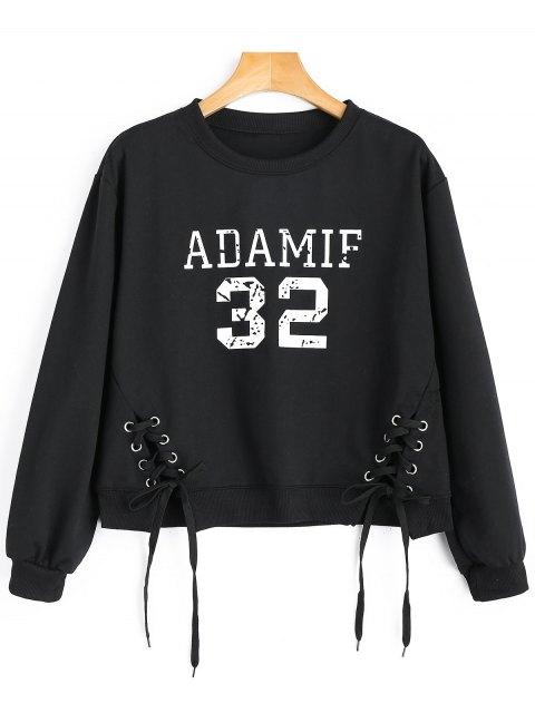 Sweatshirt mit Schnürsenkel und Adamif Grafik - Schwarz Eine Größe Mobile
