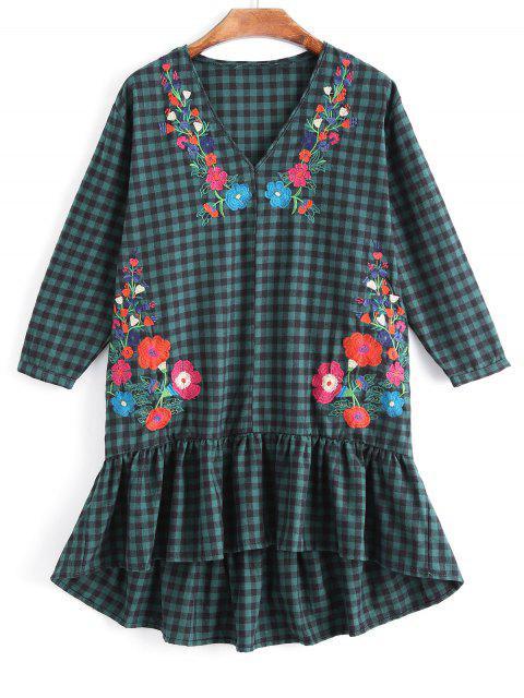 Rüschen kariert Floral bestickten Casual Dress - Kariert M Mobile