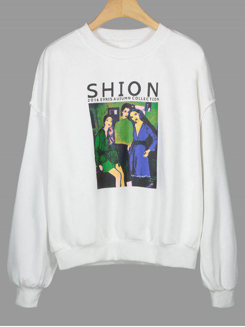 Sweatshirt mit Rundhalsausschnitt und Shion Grafik - Weiß Eine Größe Mobile