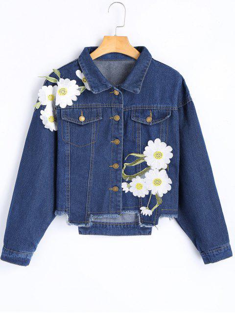 Blumenapplizierte ausgestellte Saum-Denim-Jacke - Dunkelblau M Mobile