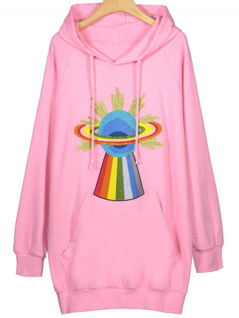 Tunika Hoodie mit Stickerei - Pink XL  Mobile