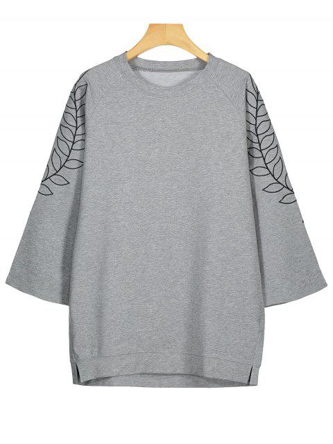 Tunika Sweatshirt mit Blattstickerei - Grau XL  Mobile
