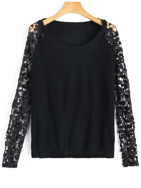 latest Lace Sleeve Crew Neck Sweater - BLACK S Mobile