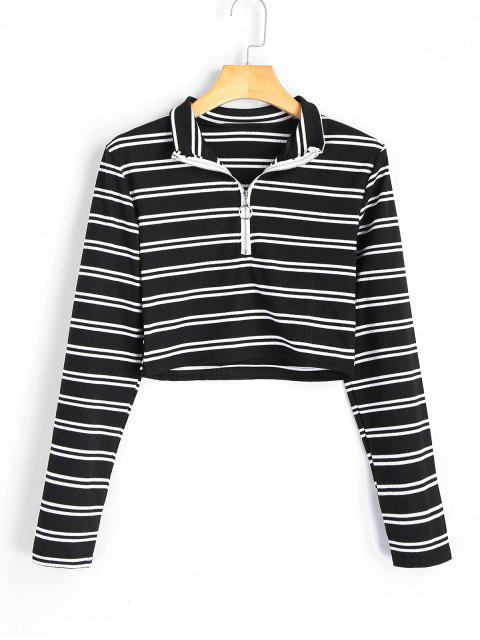 women High Neck Half Zip Striped Knitted Top - STRIPE S Mobile