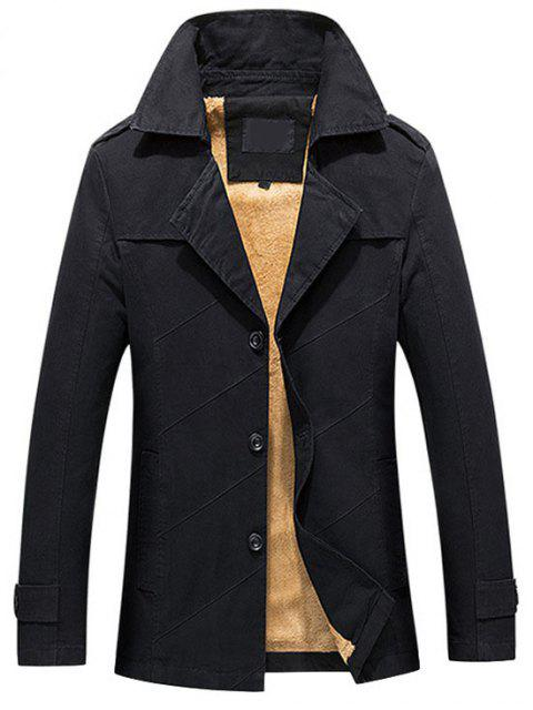 fashion Button Up Fleece Mens Coat - BLACK L Mobile