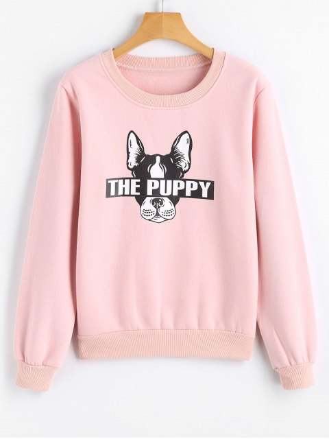 Sweat-shirt Imprimé Chiot Mignon - Rose  M Mobile