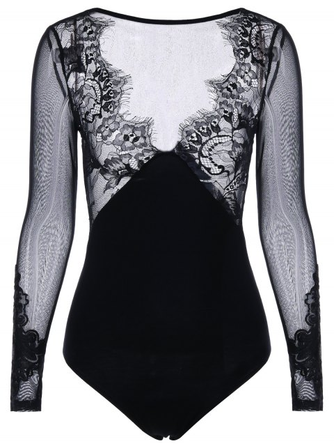 new Long Sleeve Sheer Plunging Bodysuit - BLACK L Mobile