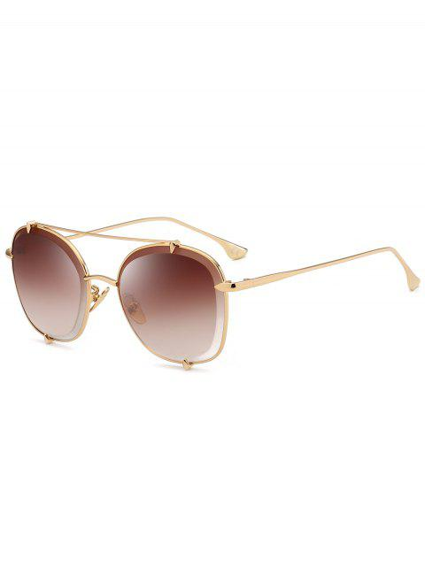 outfit Metal Frame Crossbar Embellished Polit Sunglasses - GOLD FRAME+DARK BROWN LENS  Mobile