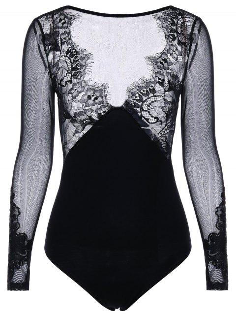 Body de manga larga con estampado claro - Negro XL Mobile
