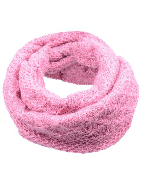 shop Outdoor Rhombus Pattern Chunky Knitted Scarf - LIGHT PINK  Mobile